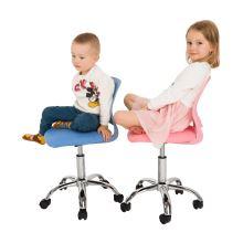 Dětská otočná židle SELVA ekokůže a plast růžový, chrom