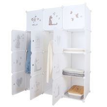 Dětská modulární skříň KITARO kov a plast, bílá a hnědý dětský vzor
