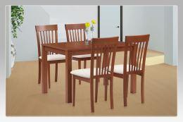 Jídelní židle BC-3950 TR3 masiv buk, barva třešeň, látka krémová