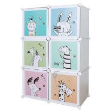 Dětská modulární skříň BIARO kov a plast, šedá a dětský vzor
