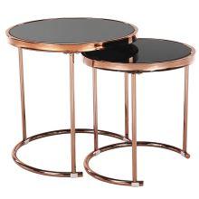 Set 2 konferenčních stolků MORINO kov rose gold chrom růžová, sklo černé