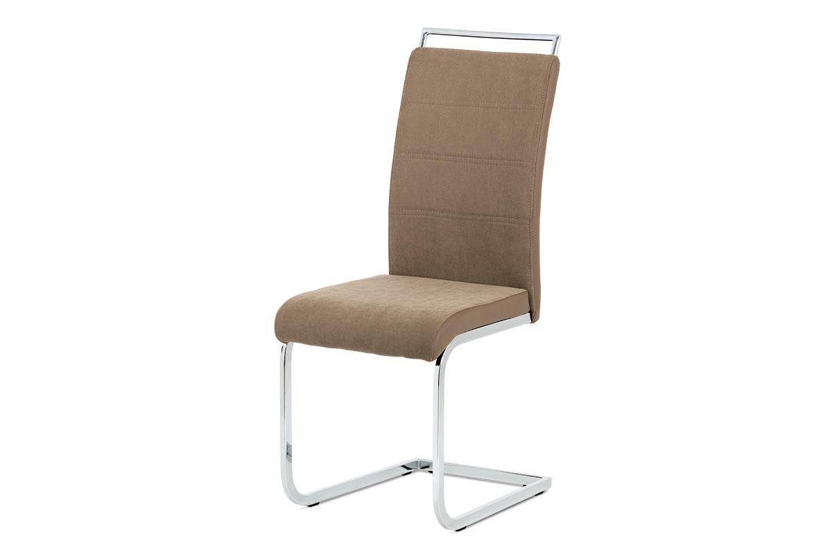 Jídelní židle DCL-966 LAN2 látka lanýžová, koženka hnědá, chrom