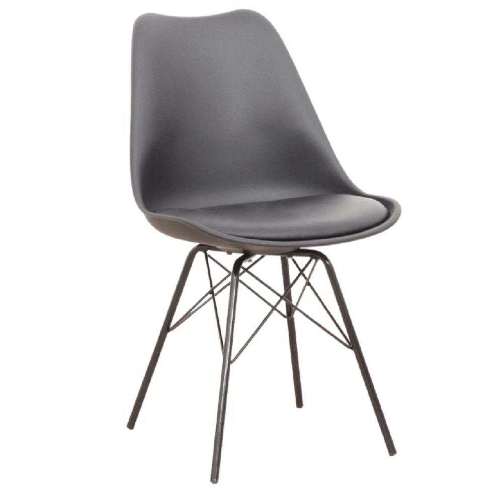 Jídelní židle TAMORA plast, ekokůže a kov černý, VÝPRODEJ, poslední 1 kus