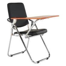 Skládací pracovní židle SONER s deskou na psaní, ekokůže černá, přírodní deska, kov chrom