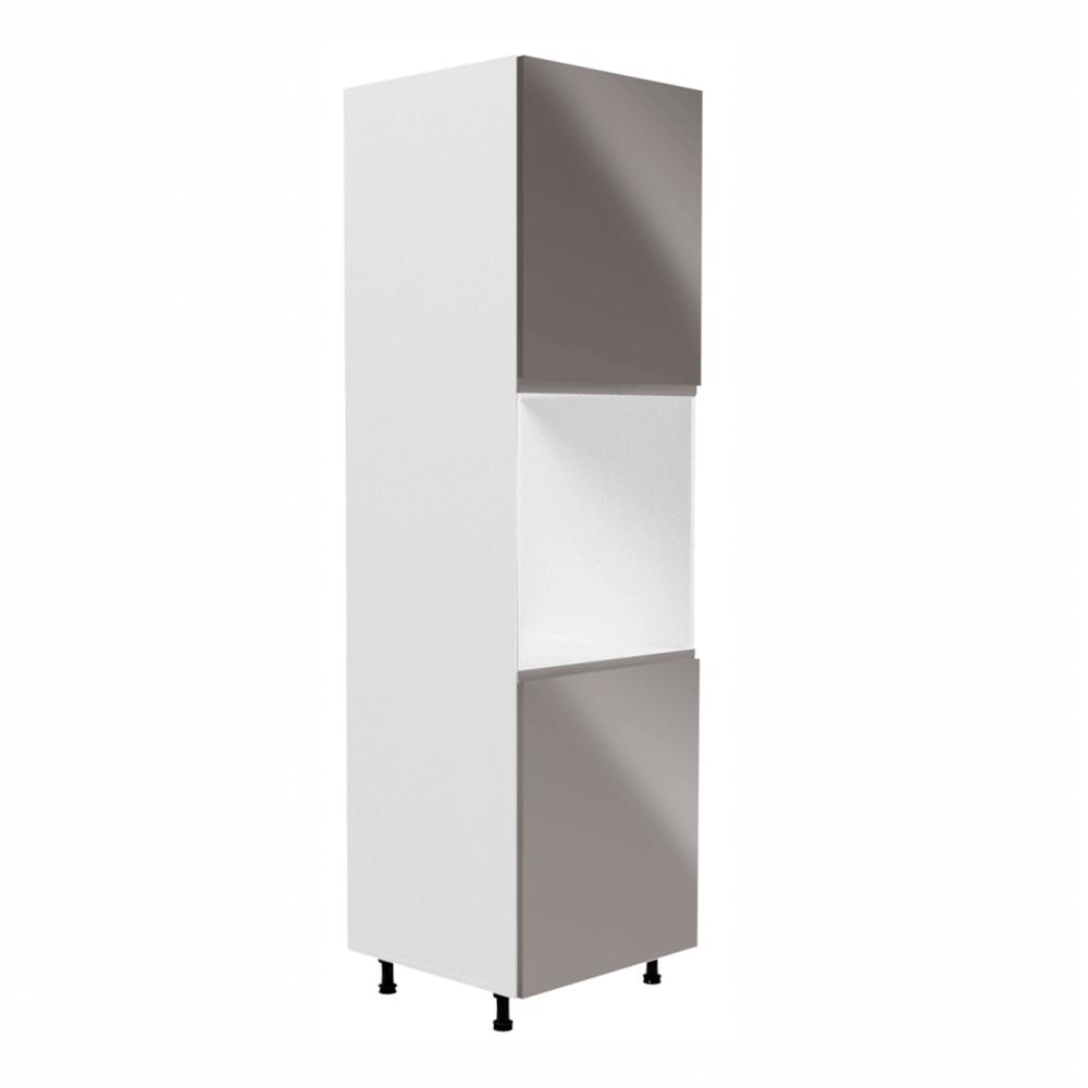 Vysoká skříň na vestavnou troubu, bílá / šedá extra vysoký lesk, AURORA D60P