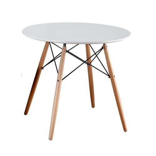 Jídelní stůl GAMIN new, průměr 80 cm, barva bílá mat, buk, kov černý