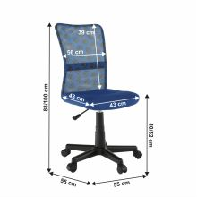 Dětská otočná židle GOFY síťovina modrá vzor, plast černý