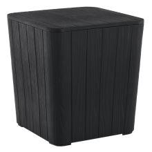 Zahradní úložný box IBLIS příruční stolek, plast černý s dekorem dřeva