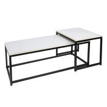 Set 2 konferenčních stolků KASTLER NEW TYP 2 MDF barva matná bílá, kov černý lak