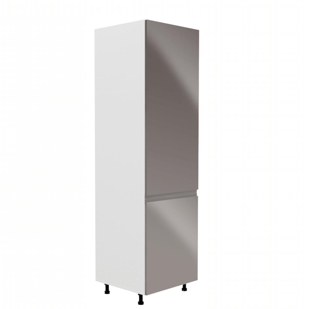 Skříňka na lednici, bílá / šedá extra vysoký lesk, pravá, AURORA D60ZL
