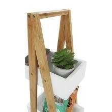 Regál, bambus / bílá, VEGO