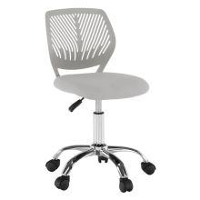 Dětská otočná židle SELVA ekokůže a plast šedý, chrom
