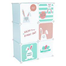 Dětská modulární skříňka EDRIN kov a plast, modrá a dětský vzor