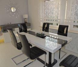 Jídelní stůl PIANOSA 160-210-260x89 cm, senosan bílý a černý vysoký lesk