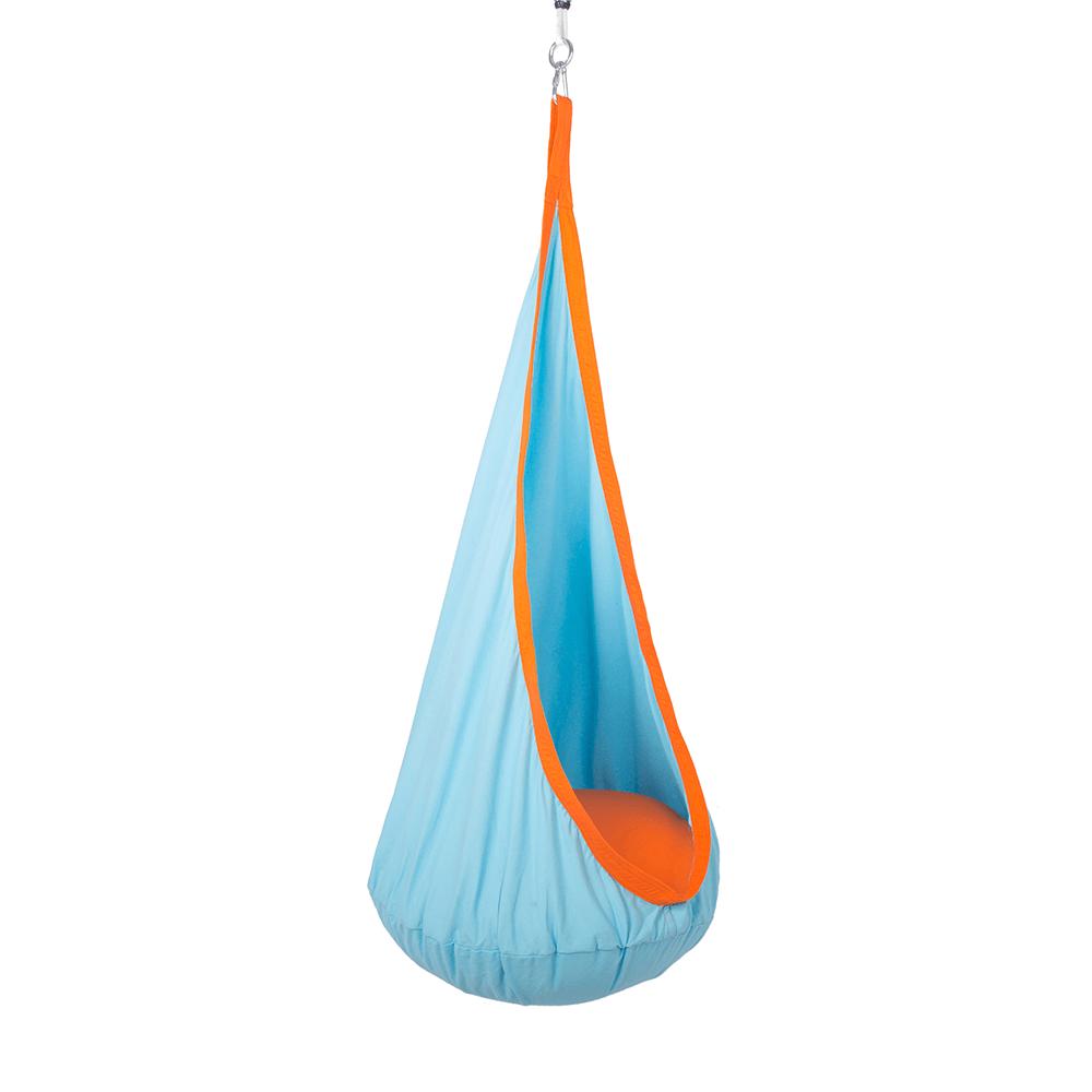 Dětské závěsné houpací křeslo SIESTA TYP 1 látka modrá a oranžová