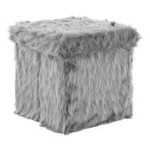 Kožešinový taburet, tmavě šedá, VASAV