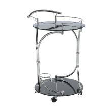 Servírovací stolek, černé sklo / chrom, VESNA